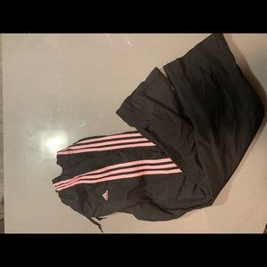 Pink And Black Adidas Wind Pants
